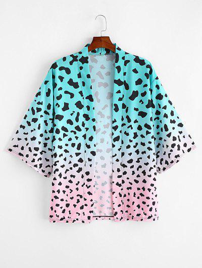 Ombre Leopard Print Open Front Kimono Cardigan - Macaw Blue Green 2xl