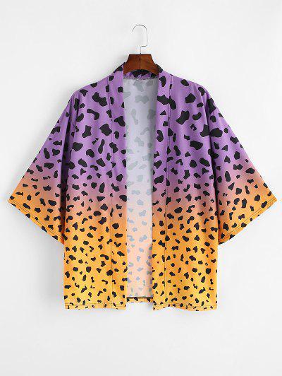 Ombre Leopard Print Open Front Kimono Cardigan - Rubber Ducky Yellow M