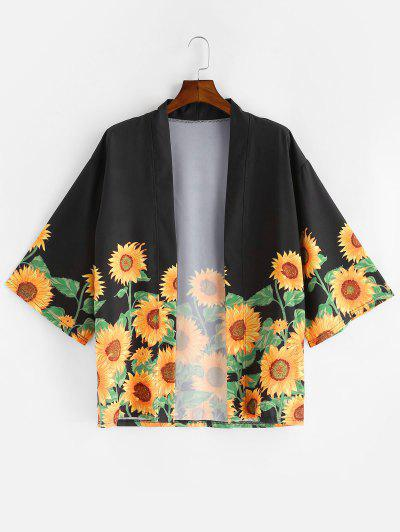 Sunflower Print Beach Vacation Kimono Cardigan - Black L