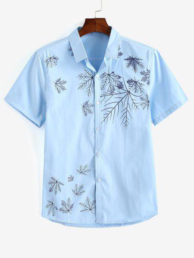 Maple Leaves Print Button Up Shirt - Light Blue S