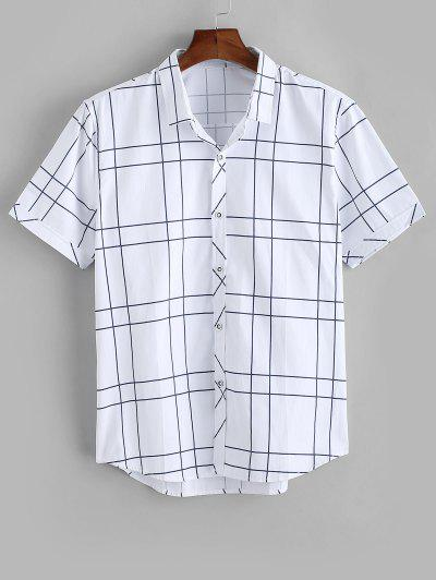 Camisa A Cuadros Abotonado Estampado Gatos - Blanco M