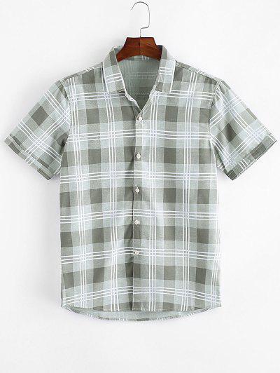 Camisa Casual A Cuadros Con Botón - Verde Claro Xs