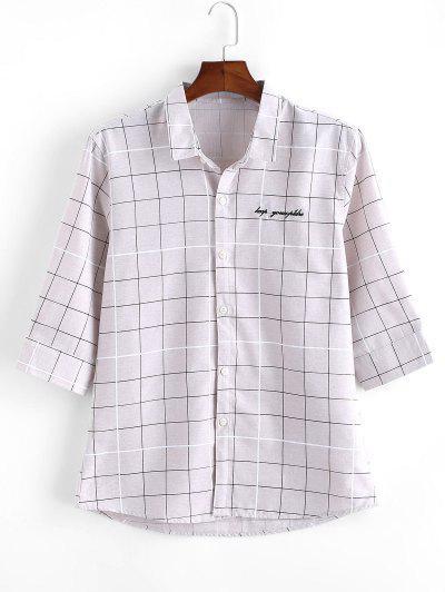 Camisa Manga Larga Cuadros - Gris M