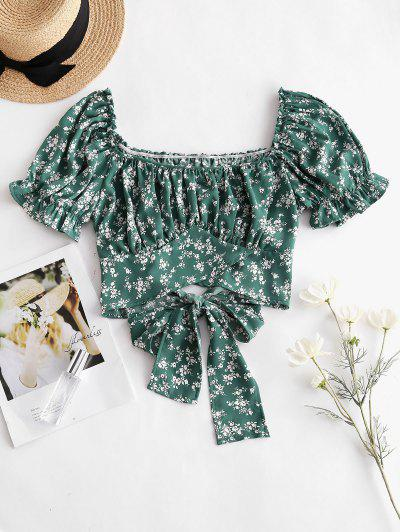 Tie Waist Ditsy Floral Milkmaid Blouse - Green L