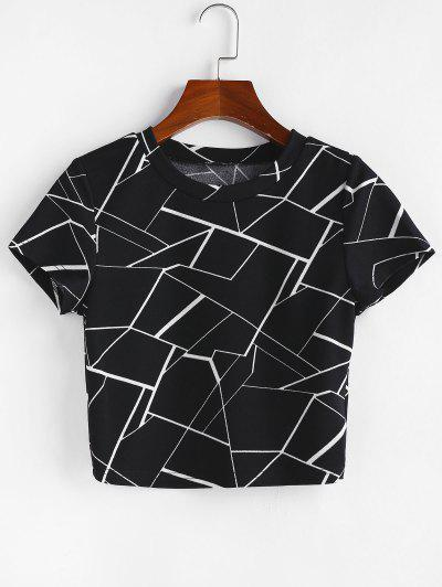 ZAFUL Marble Print Short Sleeve Crop T-shirt - Black L