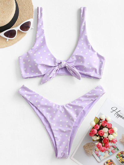 ZAFUL Reversible Tie Front High Cut Valentine Star Heart Bikini Swimwear - Mauve S