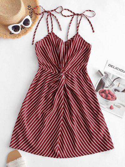 ZAFUL Tie Shoulder Stripes Twist Front Mini Dress - Red S