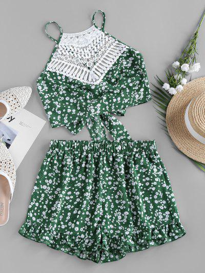 ZAFUL Crochet Insert Ditsy Print Ruffle Tie Back Shorts Set - Green M