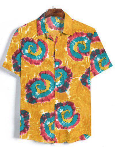 Camisa Y Botones Estampado Teñido - Amarilla De Abeja  Xl