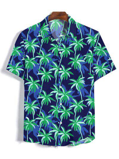 Coconut Tree Pattern Button Short Sleeves Shirt - Denim Dark Blue 3xl