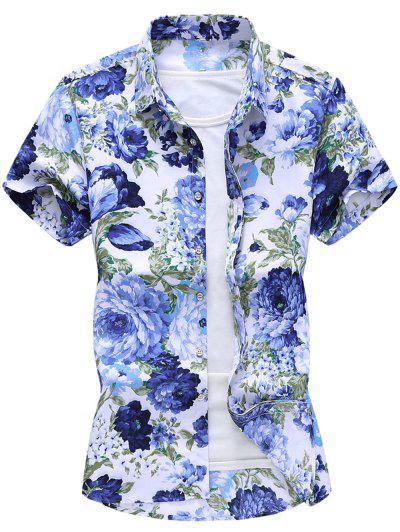 Flower Print Hawaii Beach Shirt - White Xl