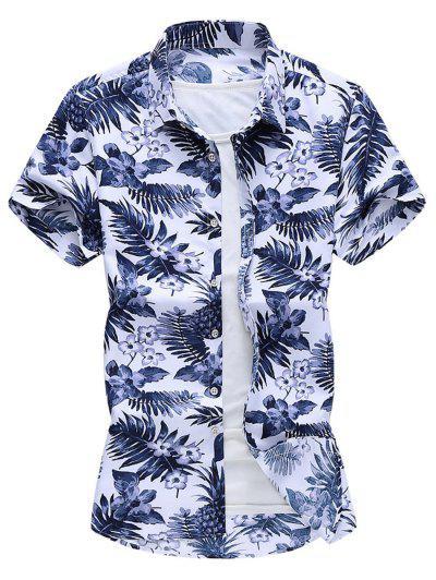 Tropical Print Curved Hem Beach Shirt - White Xl