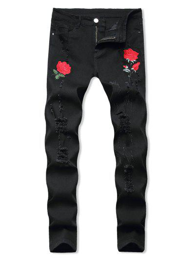 Floral Embroidered Ripped Design Jeans - Black 32