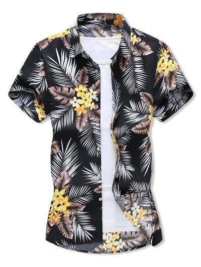 Tropical Leaf Floral Print Hawaii Vacation Shirt - Black S