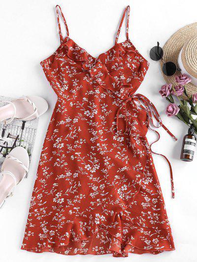 ZAFUL Ditsy Print Ruffle Wrap Sundress - Lava Red S