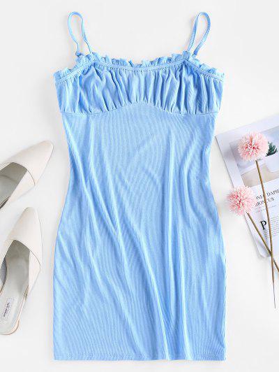 ZAFUL Geripptes Gekräuseltes Milkmaid Camisole Kleid - Kristal Blau S