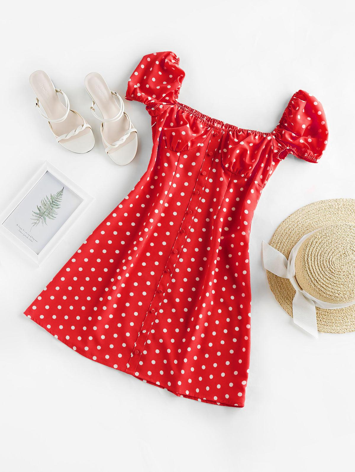 ZAFUL Polka Dot Button Embellished Cupped Dress