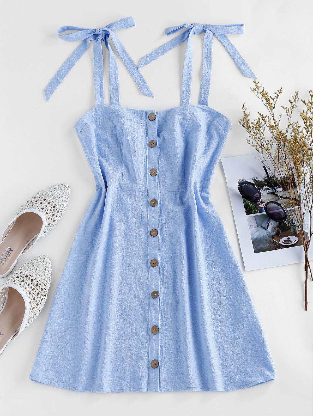 ZAFUL Button Through Tie Shoulder Mini Dress