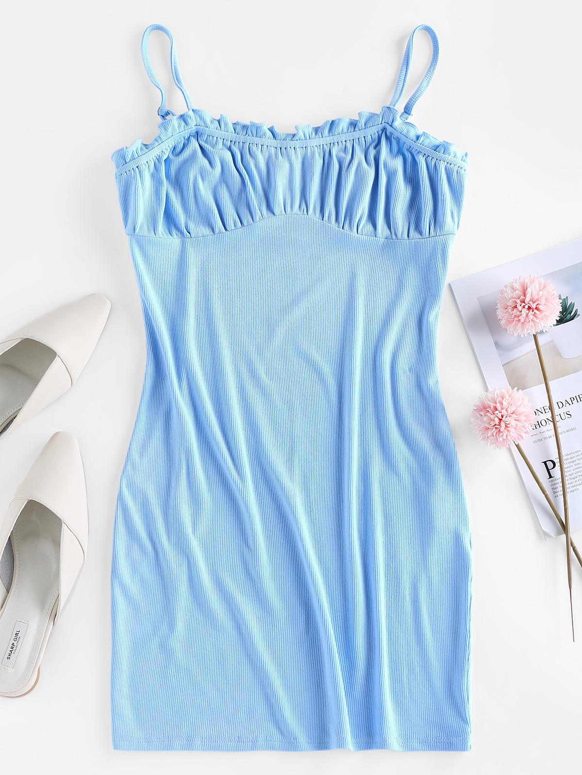 ZAFUL Ribbed Ruffled Milkmaid Style Cami Dress