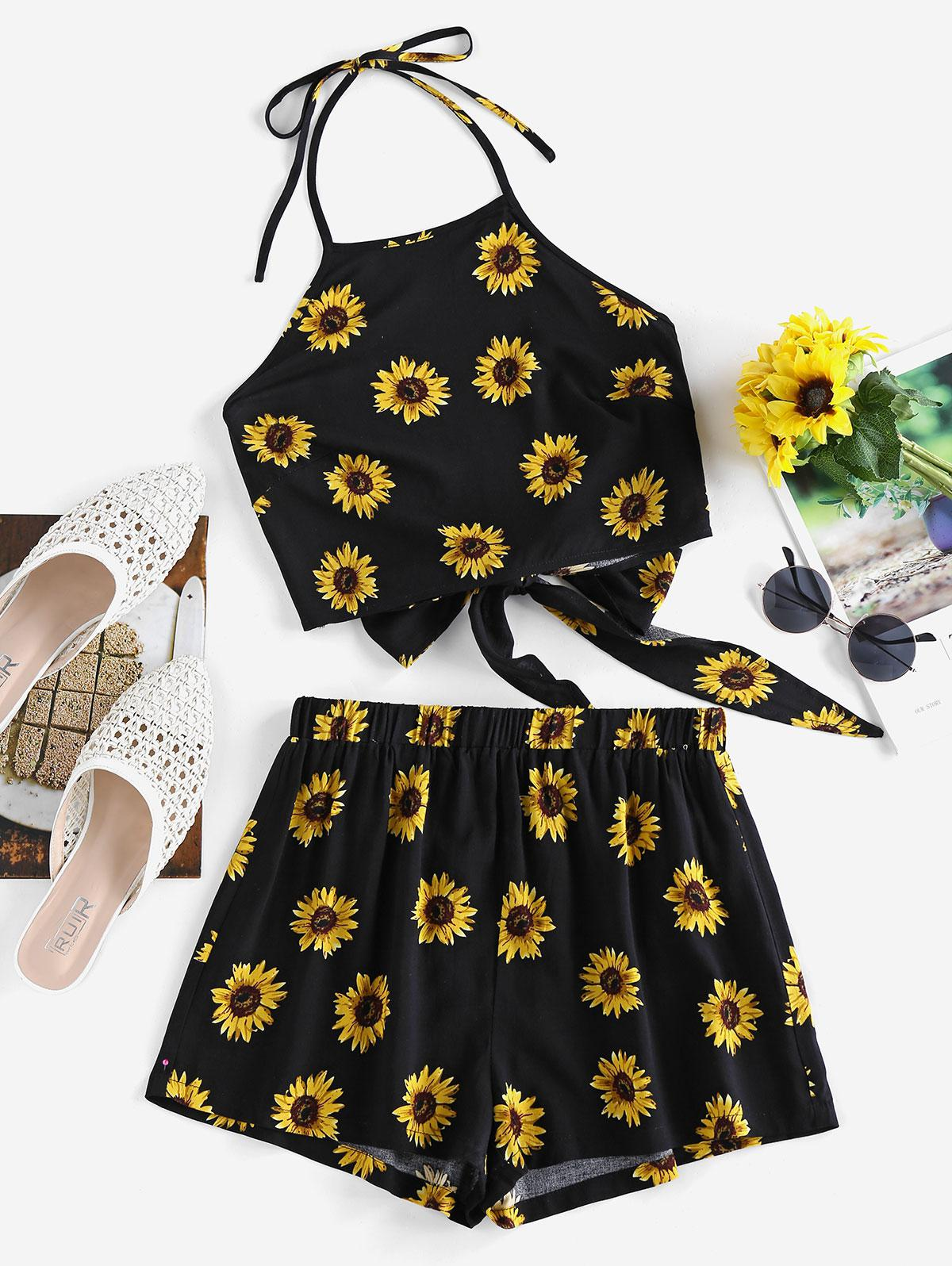 ZAFUL Sunflower Tie Back Halter Loose Shorts Set
