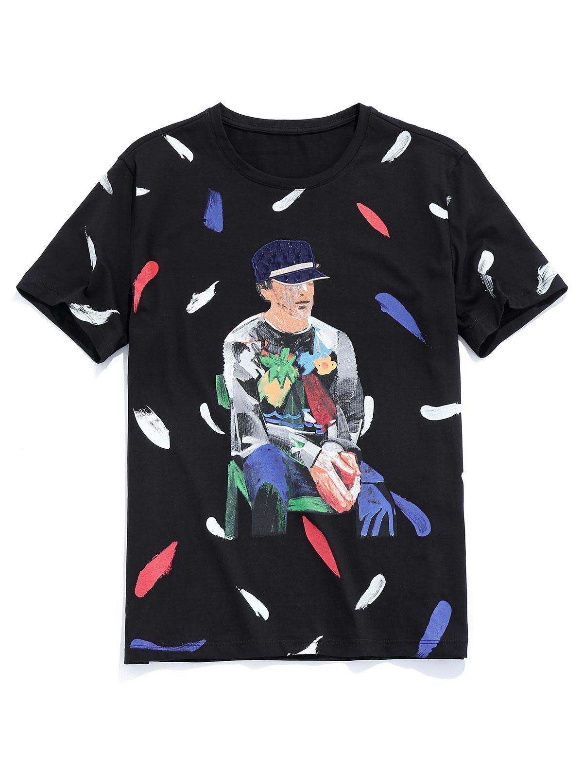 Men Painting Graphic Basic T-shirt thumbnail