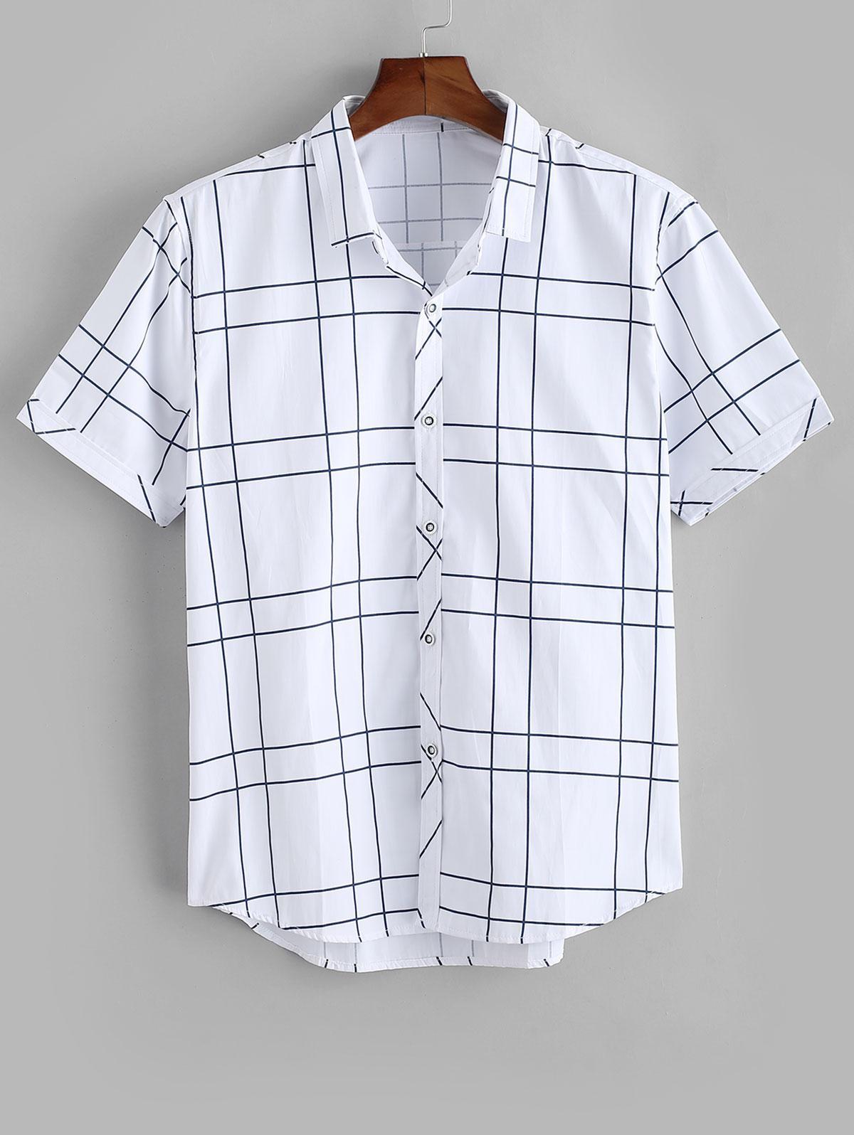 Windowpane Check Print Button Up Shirt thumbnail