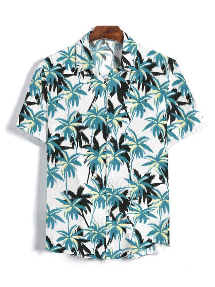 Coconut Tree Pattern Button Short Sleeves Shirt thumbnail