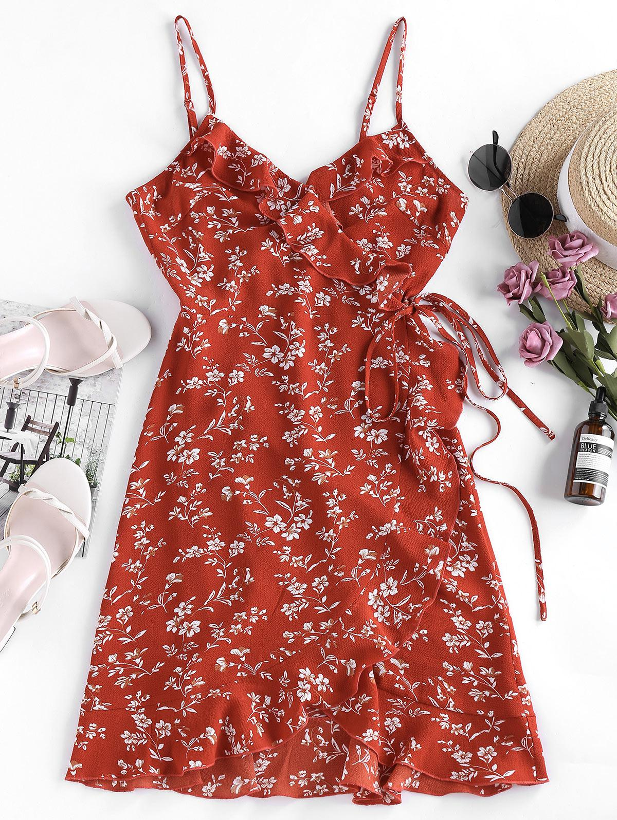 ZAFUL Ditsy Print Ruffle Wrap Sundress