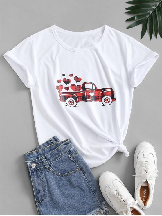 Valentine inima si masina grafic de bumbac Nodul Tee - alb XL