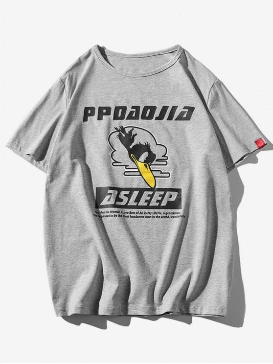 T-shirt a Maniche Corte con Stampa di Uccelli - Grigio Chiaro 2XL
