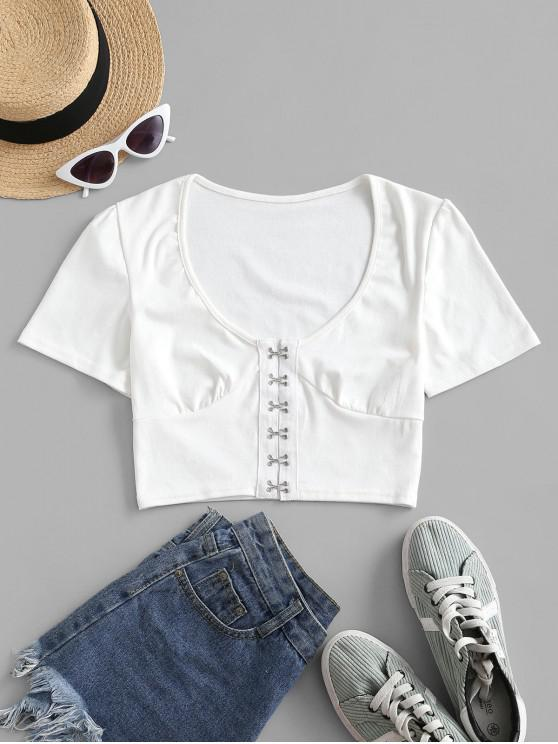 chic Cropped Hook And Eye Front Tee - WHITE XL