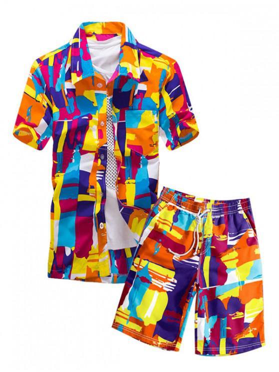 Camisa de Geométrica Colorida com Padrão Gráfico - Multi-A XS
