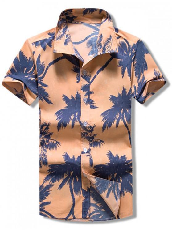 shop Palm Tree Print Vacation Beach Shirt - KHAKI ROSE M