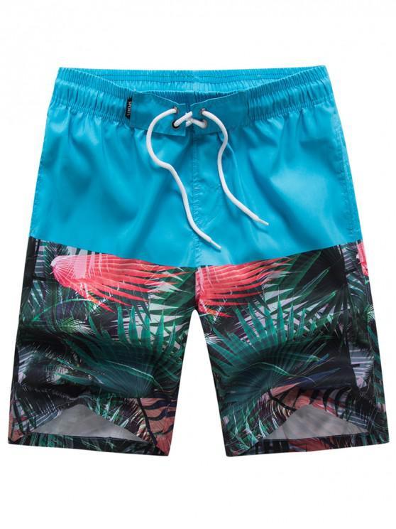 women Tropical Plant Panel Hawaii Board Shorts - LIGHT BLUE 3XL