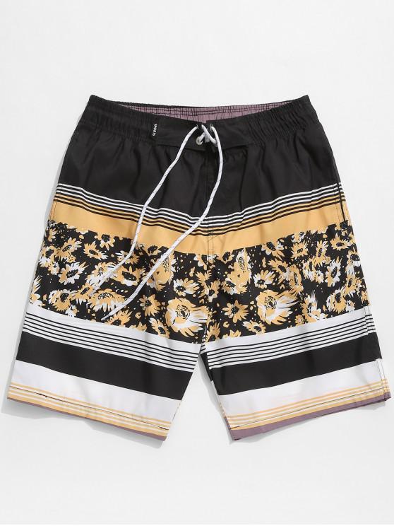 Shorts de Hawai Playa de Rayas Florales con Cordones - Amarilla de Abeja  M