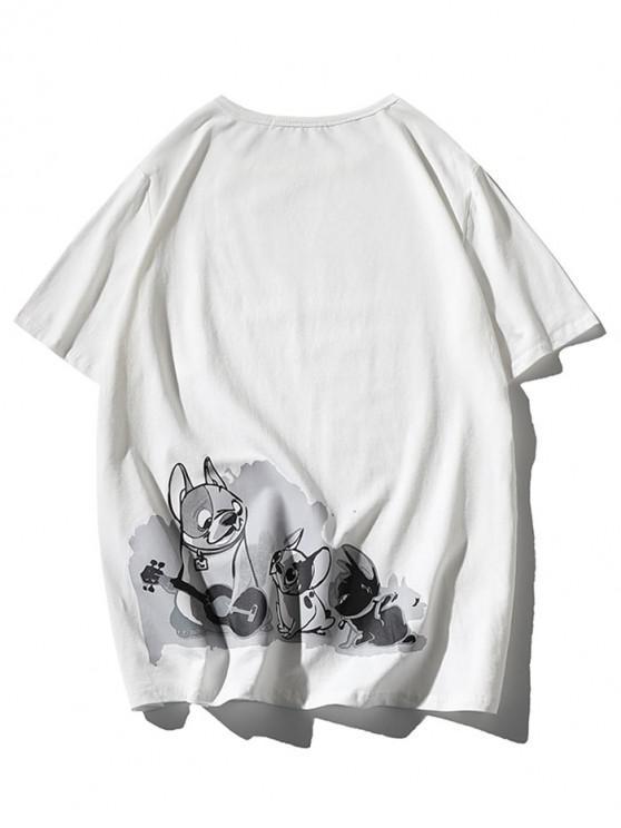 T-shirt Applique Chien Dessin Animé Imprimé - Blanc 2XL
