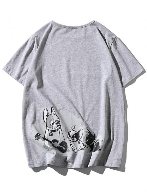 ladies Cartoon Dogs Print Applique T-shirt - LIGHT GRAY 2XL