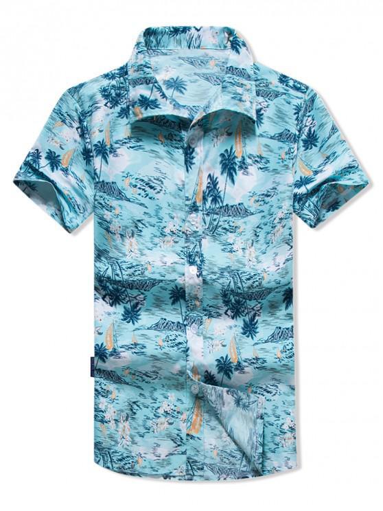 Camisa Hawaii con Estampado Floral de Palmel - Celeste 2XL