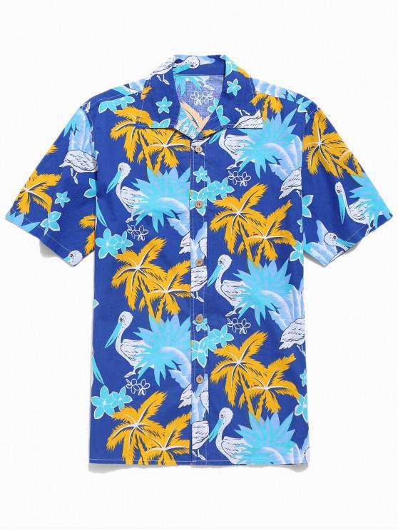 Camisa Hawaii de Dama de Flores con Animales de Palmelas - Azul L