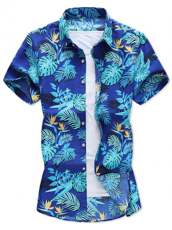 outfits Tropical Leaf Print Hawaii Vacation Shirt - COBALT BLUE 2XL