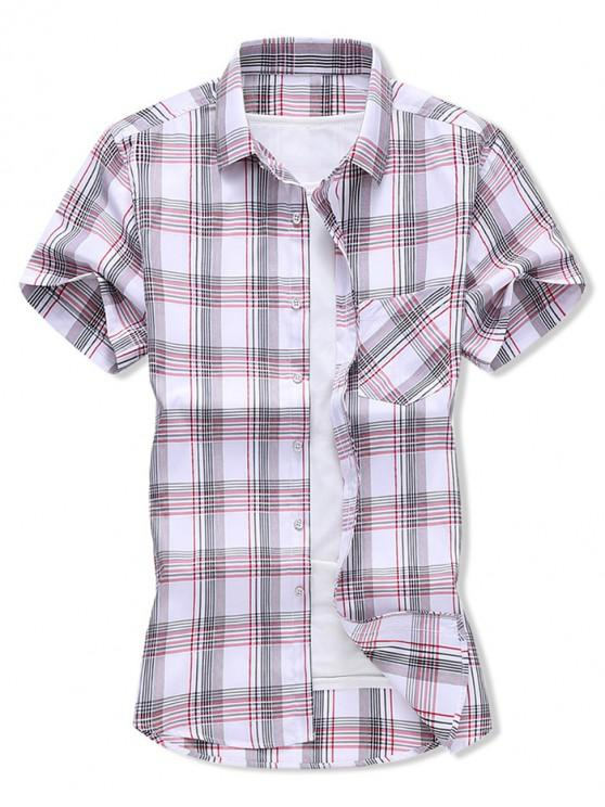 women Plaid Pocket Patch Button Shirt - LAVA RED XS