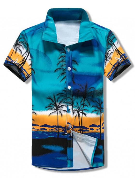 chic Palm Tree Print Hawaii Vacation Shirt - DEEP SKY BLUE XS