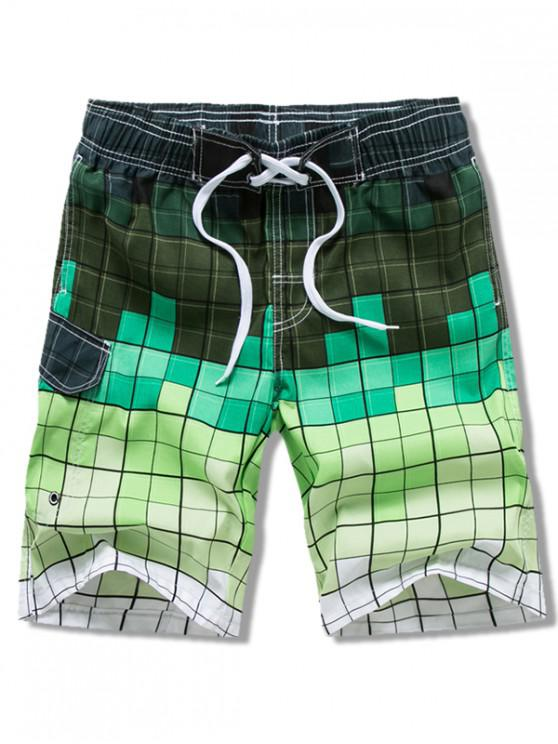 Ombre Checkered Vacation Board Shorts - أخضر 3XL