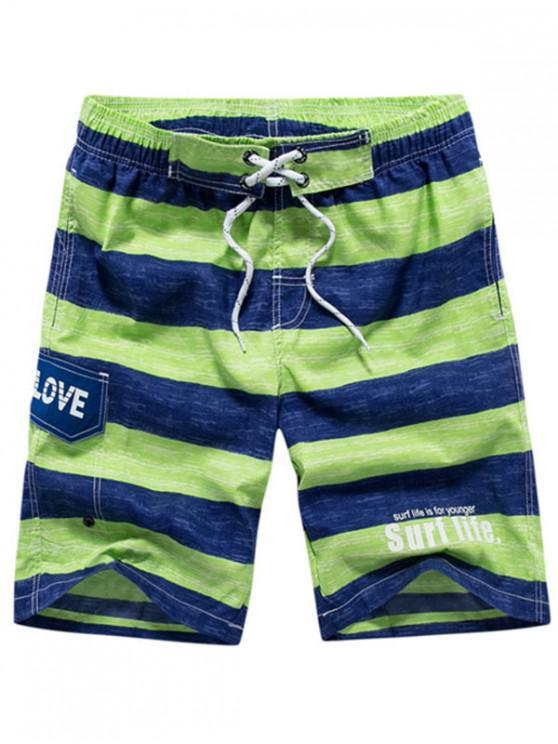 trendy Colorblock Letter Printed Drawstring Beach Shorts - YELLOW GREEN 3XL
