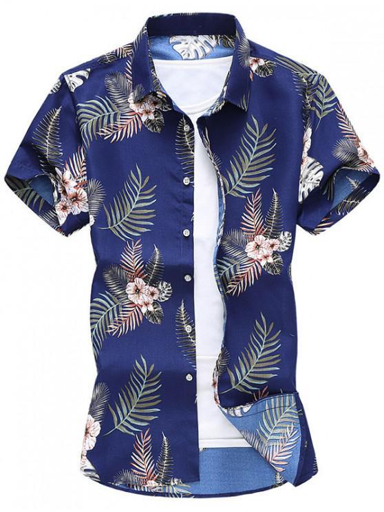 Camisa de Manga Larga con Estampado de Flores Tropicales de Hoja - Azul Oscuro de Denim XS