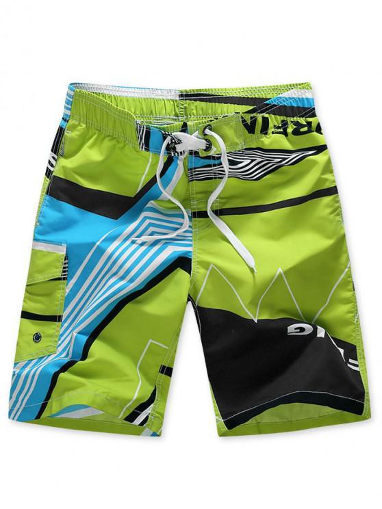 latest Striped Geo Graphic Beach Shorts - GREEN 4XL