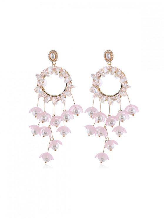 Pendientes de La Franja de Perlas de Imitación Floral - Rosado