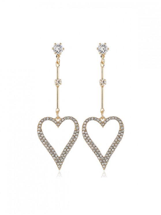 Pendientes Huecos de Diamantes de Imitación del Corazón - Oro