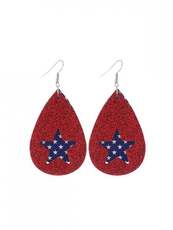 outfit Star Flag Pattern Glitter Earrings - MULTI-A