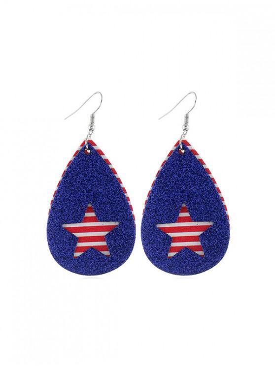 shops Star Flag Pattern Glitter Earrings - MULTI-D